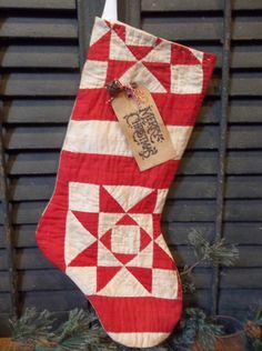 primitive handmade antique cutter quilt stocking winterholiday decoration - Quilted Christmas Stockings
