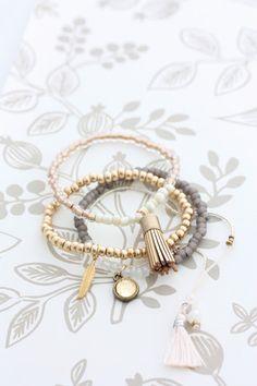 Tassel Bracelet Set - Gold