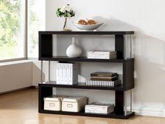 Baxton Studio Barnes Dark Brown Three-Shelf Modern Bookcase