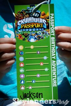 Skylander Party Idea - Passports - To keep track of al the Games played at birthday party