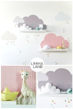 Wolken Kinderzimmer gestalten mit Wandtattoos passend für die IKEA Mosslanda (früher: RIBBA) Bilderleiste. Fünf Wolken Tattoo mit stylischen Mustern und zusätzlichen Dreicken im Set bei www.limmaland.com
