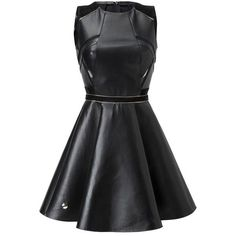 """leather dress """"fierce"""" ($3,528) ❤ liked on Polyvore featuring dresses, circle skirt, genuine leather dress, sleeveless dress, leather dress and leather circle skirt"""