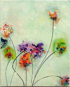 Flores pintura Original abstractos pintura por MilaSchoeneberg