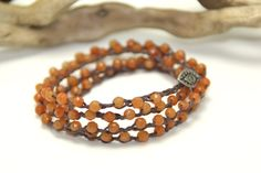 Bohemian Style Brown Waxed Irish Linen Wrap Bracelet 4 Wrap Czech glass faceted orange beads