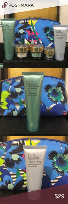🔥Estée Lauder DayWear Set🔥 Price Firm This AWESOME DayWear Set Includes: Take it Away lotion 1 FL OZ (30mL)  DayWear Creme .5 FL OZ (15mL) NightWear Creme .5 FL OZ (15mL) DayWear Eye Creme .17 FL OZ (5mL) NightWear 3-Minute Detox Mask 1.7 FL OZ (50mL) Almost a full-size  Beautiful Santorini Cosmetic bag  All NEW & UNUSED. Thank you for shopping my closet I always include a gift to make your package extra special. Estee Lauder Makeup