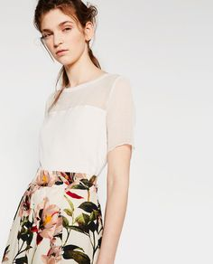 Image 4 of CONTRAST SHEER T-SHIRT from Zara