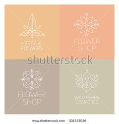 Beautiful flower logos. Outline nature elements. Organic objects. Graphic design. Templates for web. Flower shop.