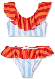 5db6626bfe825 Stella Cove Blue   Orange Stripe Ruffle Bikini