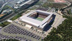 Perspectiva aérea do novo Estadio do Corinthians em São Paulo