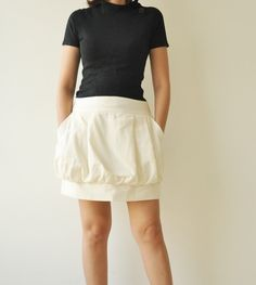 Sale15 Tulip  White Cotton Skirt  3 Sizes by aftershowershop