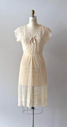 vintage cream lace dress / 1970s sheer lace dress / by DearGolden, $124.00