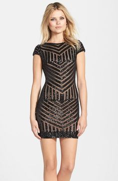 Dress the Population 'Tabitha' Geometric Sequin Minidress available at #Nordstrom