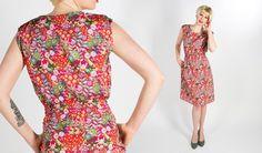 Women's Short-Sleeve Floral Bee Print Dress