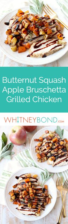 Butternut Squash Apple Bruschetta tops balsamic grilled chicken in this delicious grilled bruschetta chicken recipe that's gluten free, dairy free & made in only 29 minutes! Serve with World Market Gold Wave Flatware for a beautiful burst of bling alongside this delicious dish! #WorldMarketTribe
