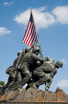 """Arlington Cemetery's """"Uncommon Valor""""—The sculptor based the work on the famous grab-shot photo by Joe Rosenthal of the second flag-raising on Iwo Jima in WWII. Designer: Horace W. Peaslee"""