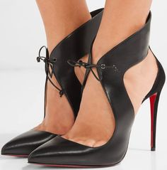 Christian Louboutin 'Ferme Rouge' Cutout Leather and Suede Pumps