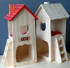 Wooden Toy Cars, Wood Toys, Diy Old Tshirts, Diy Cat Tent, Cat House Diy, Cat Room, Cat Condo, Pet Furniture, Pet Home