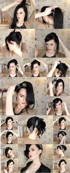 Bandana Updo Tutorial: Images and Videos i cant pull this off but its gorgeous! The post Bandana Updo Tutorial: Images and Videos appeared first on Hair Styles. Cabelo Pin Up, Peinados Pin Up, Scarf Hairstyles, Pretty Hairstyles, Style Hairstyle, Hairstyle Short, Wedding Hairstyles, Greaser Hairstyle, Rocker Hairstyles