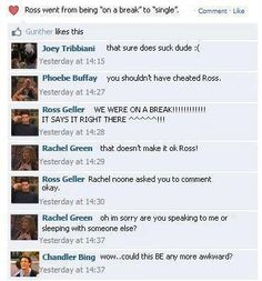 Ross and Rachel on Facebook. LOVE THIS  I watched TOW the tiny t-shirt and immediately felt a common bond between Ross and I.