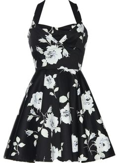 Central Park Dress: Features a subtle sweetheart neckline with a pleated and padded bust, brilliant white vintage rose print covering both sides of the dress, perfect ladylike A-line skirt, and a centered rear-zip closure to finish. Comes with a wide detachable halter strap.