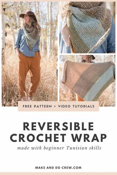 This reversible Tunisian crochet scarf uses basic skills to create a triangle wrap that's light and flowy, while still maintaining a serious cozy factor. Get the free pattern + beginner video tutorials below or purchase the Crochet Shawls And Wraps, Crochet Scarves, Crochet Clothes, Crochet Cowls, Crochet Granny, Crochet Vests, Lace Shawls, Crochet Edgings, Crochet Shirt