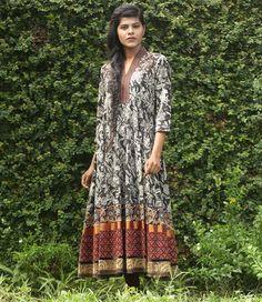 Mantra Black Cotton Anarkali Kurti