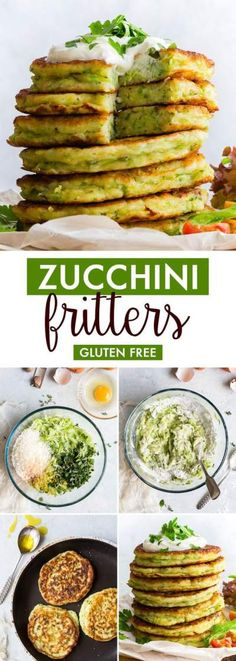 Zucchini Fritters (Gluten Free, Dairy Free Option) - Healthy, easy to make and absolutely delicious, these gluten free zucchini fritters make the perfect summer lunch! The addition of lemon zest and plenty of herbs make them wonderfully aromatic, and they Dairy Free Options, Dairy Free Recipes, Easy Healthy Recipes, Lunch Recipes, Breakfast Recipes, Easy Meals, Summer Recipes, Eat Breakfast, Drink Recipes