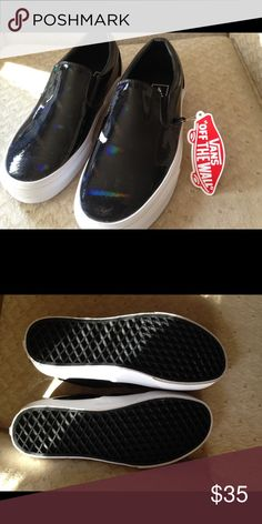 Black Vans slip-ons These are new with tag. I do not have the box. They are a pretty shiny patent material. Size 6(men's), size 7.5(women's). Never been worn. I am purging things I do not wear. Someone needs to give them a new home! Vans Shoes Athletic Shoes