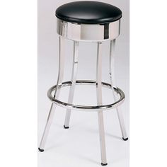 "Economy 50's Diner Bar Stool. Availability: Build to Order. Minimum order of 6. Commercial Grade 1 Vinyl upholstery. Chrome finish. Non-swivel seat. Base constructed of square 16 gauge steel tubing. Seat Height: 30"" Includes Lifetime Structural Frame Warranty."