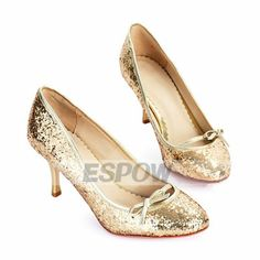 Low Heel Sparkling Glitter Pumps with Bow Detail Gold Wedding Shoes ESPOW