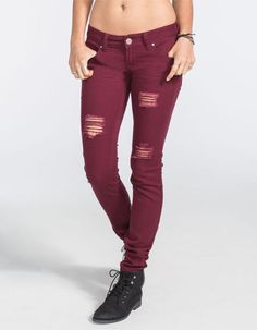 Rsq Ibiza Womens Skinny Jeans Burgundy  In Sizes