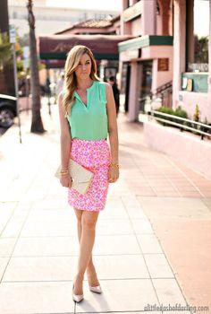 Mint Sleeveless and Pink Print Pencil Skirt.