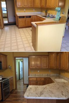 "Kitchen Inspiration: ""In three days the remodel was done! We love love love our new floor."""