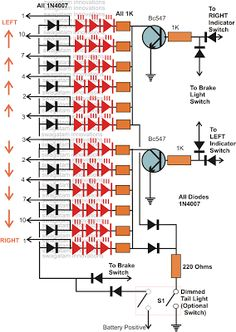 How to Make Car LED Chasing Tail Light, Brake Light - Homemade Circuit Projects Led Light Projects, Led Projects, Electrical Projects, Arduino Projects, Electronic Circuit Projects, Electronic Engineering, Electronic Kits, Car Led Lights, Led Tail Lights
