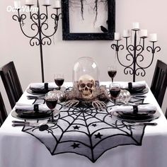 Use: Spiderweb Table Topper. Use Halloween lace tablecloth. Use Halloween Decoration Party. Use Halloween table decoration. Use Halloween party supplies. Party City Halloween Decorations, Table Halloween, Halloween Tablecloth, Soirée Halloween, Adornos Halloween, Halloween Party Supplies, Halloween Home Decor, Vintage Halloween, Halloween Living Room