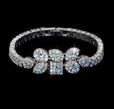 Geometric Cubic Zirconia Wedding Bracelet 2 Row by AmodeJewelry
