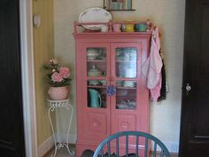 Adorable pink china cabinet