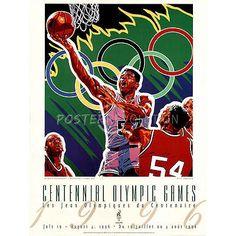 Hiro Yamagata Olympic Basketball 1996 Atlanta Official Sports Poster Print 18x24