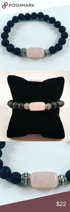 Women rose quartz lava rock boho bead bracelet Women beaded bracelet. Fits most , 6 to 7.5 inch wrist . Handmade by me , never worn by anyone . Made with black lava rocks and rose quartz center square bead . Tibetan silver deco charm . I ship fast!!✈️ Bundle and save! ( 10 % off bundles ) . Any questions let me know! No transactions outside Poshmark!! Jewelry Bracelets