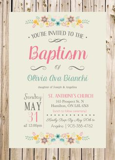 Baptism Invitation, Christening, Church, Ceremony, Party, Rustic, Floral, Pink, Blue, Grey, Flowers, Unisex by thelyricshoppe on Etsy https://www.etsy.com/listing/232181648/baptism-invitation-christening-church
