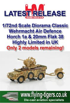 HG4504 Future 1/72nd Scale Wehrmacht Horch 1a & 20mm Flak 'German Utility Vehicle' - Magnificent new release - Last few models available now!