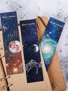 Shop Space Roaming Print Bookmark Set at ROMWE, discover more fashion styles online. Creative Bookmarks, Cute Bookmarks, Bookmark Craft, Bookmark Ideas, Watercolor Bookmarks, Watercolor Paintings, Bookmark Printing, Book Markers, Bullet Journal Art