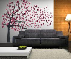 Spectacular wundersch ner Baum mit rosa Bl ten an der Wand malen