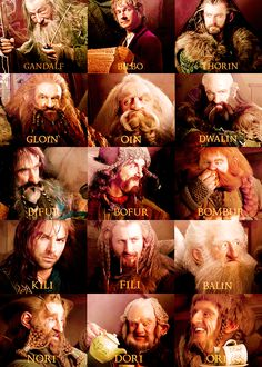 Thirteen dwarves, a wizard and a hobbit. A handy reference guide for The Hobbit. I knew all their names, but I had trouble matching the names with their faces.