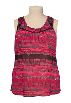Printed chiffon plus size tank (original price, $36) available at #Maurices