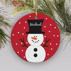 Snowman Personalized Ornament Kids Christmas Ornaments Happy New Year Kids Christmas Ornaments, Primitive Christmas, Christmas Crafts For Kids, How To Make Ornaments, Christmas Decorations, Snowman Ornaments, Snowman Door, Wood Snowman, Felt Snowman