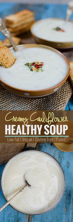 Vegan and gluten free creamy cauliflower soup. Know the secret ingredient that makes it creamy and healthy. | watchwhatueat.com. via @watchwhatueat