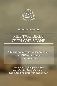 """English #idiom """"Kill two birds with one stone"""" means, to accomplish two different things at the same time. #speakenglish -         Repinned by Chesapeake College Adult Ed. We offer free classes on the Eastern Shore of MD to help you earn your GED - H.S. Diploma or Learn English (ESL).  www.Chesapeake.edu"""