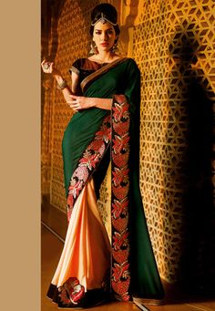 Green and Peach Faux Chiffon and Faux Georgette Saree with Blouse