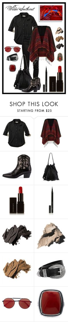 """""""Wilder Southwest:  In the Red"""" by wildersouthwest ❤ liked on Polyvore featuring Hollister Co., J Brand, Yves Saint Laurent, Loeffler Randall, Illamasqua, Bobbi Brown Cosmetics, Rust Mood, Vera Wang, southwestern and southwest"""